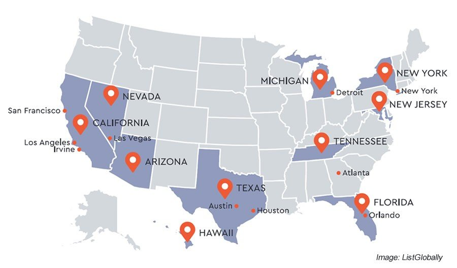 US Top Markets Map